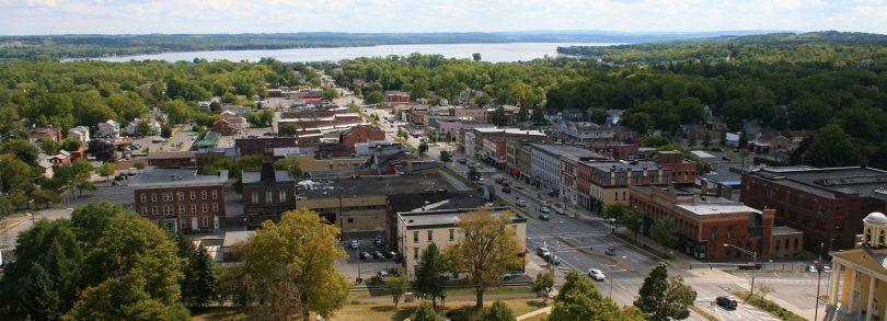 Downtown Canandaigua, NY Aerial.
