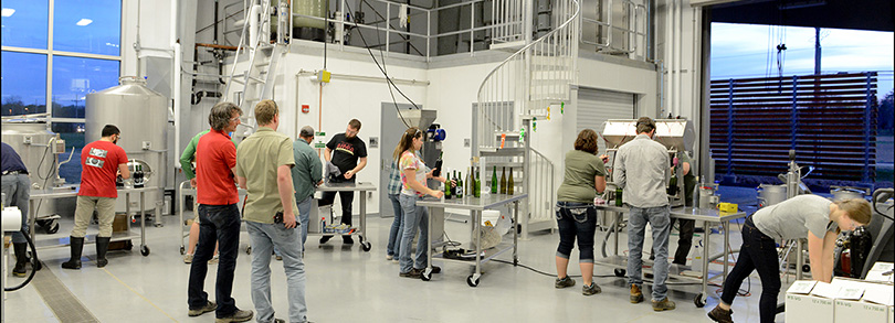 Bottling Instruction at Finger Lakes Community College Viticulture and Wine Center