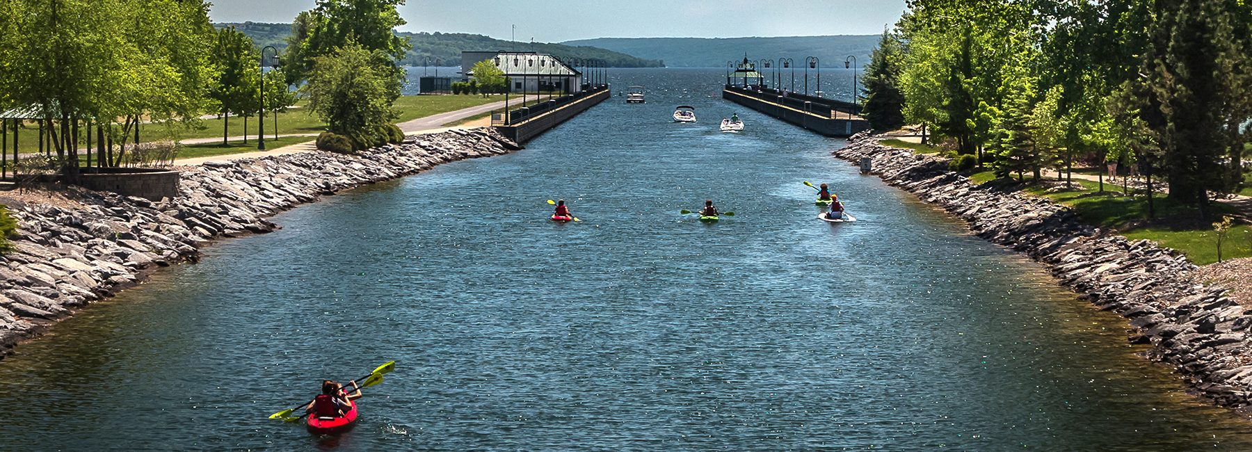Kayaks entering Owasco Lake, Cayuga County, NY